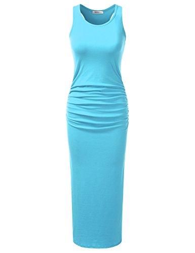 Doublju Stretchy Cotton Racerback Tank Maxi Dress For Women With ...