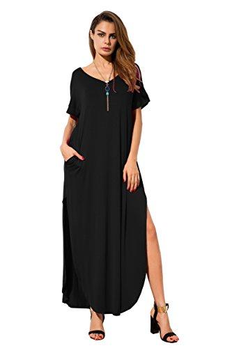 Grecerelle Womens Casual Loose Pocket Long Dress Short Sleeve Split