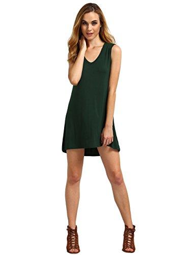 c36a58738e6 ROMWE Women's Loose Fit Flowy Stretch Crewneck Tank Tunic Dress