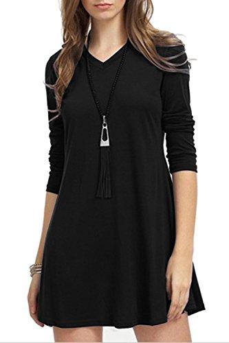 TOPONSKY Women's Casual Plain Long Sleeve Simple T-shirt Loose ...