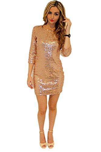 Women's Sparkle Glitzy Glam Sequin 3/4 Sleeve Club Dress Vegas