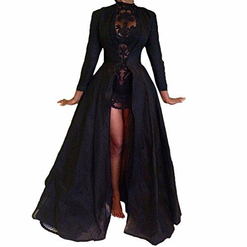 women black long cloak cape chiffon lace floral short