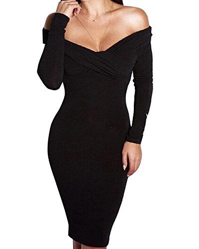 Long sleeve midi dress v neck